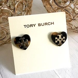 TORY BURCH HEART SHAPED TORTOISE FAUX EARRINGS